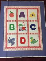 Baby Quilt Panel Abc Dog Dino Bunny Block 100% Cotton Fabric Panel 36 In X 44 In