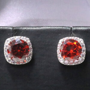 Elegant-2-Ct-Red-Round-Ruby-Diamond-Halo-Stud-Earrings-14K-White-Gold-Plated