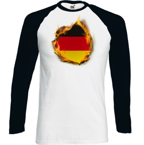 German Flag Flames Mens Germany T-Shirt Bundesflagge und Handelsflagge Football