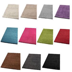 hochflor teppich langflor wohnzimmer modern uni farben rechteck u rund ebay. Black Bedroom Furniture Sets. Home Design Ideas