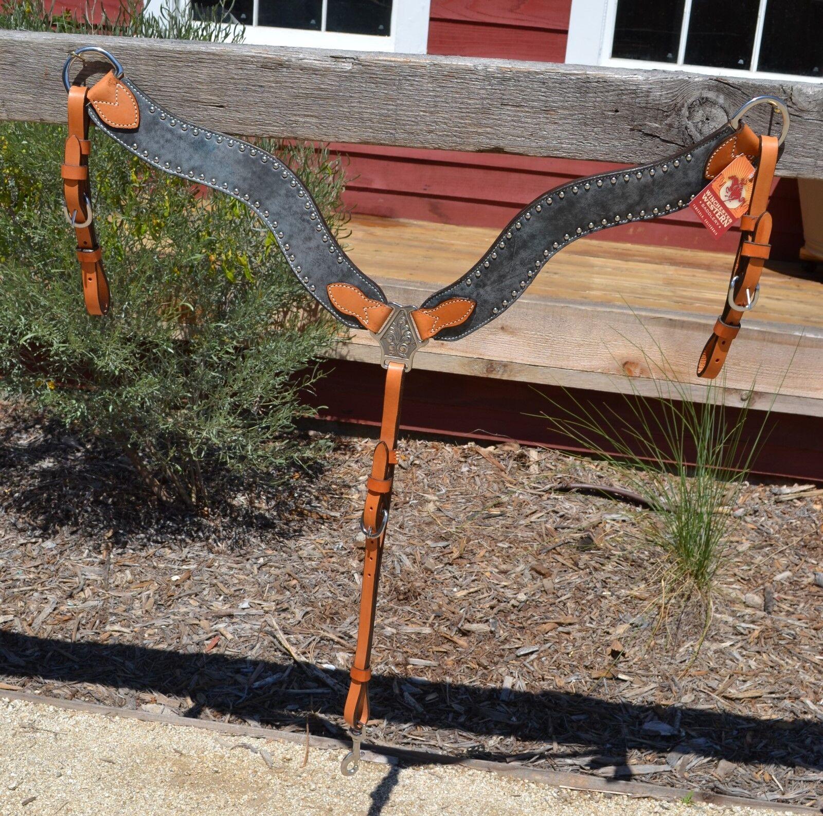 Alamo Saddlery Wave Konturiert Brustblatt Licht Öl Stahlgrau mit Nieten Nieten Nieten     | Vollständige Spezifikation  527daf