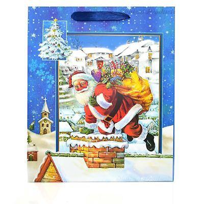 Marchio Popolare 1 X Medium Blue Lusso Borse Regalo Di Natale - 3d Sacchetti Decorativi Party Regali-mostra Il Titolo Originale