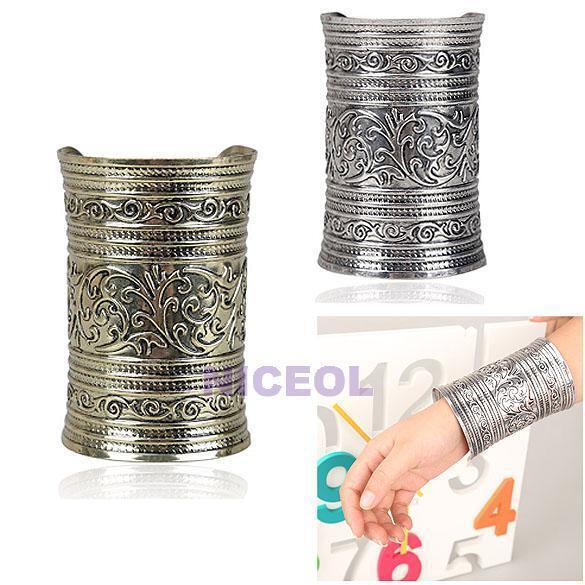 Women Exaggerate Vintage Retro Embossed Raised Pattern Long Cuff Bracelet Bangle