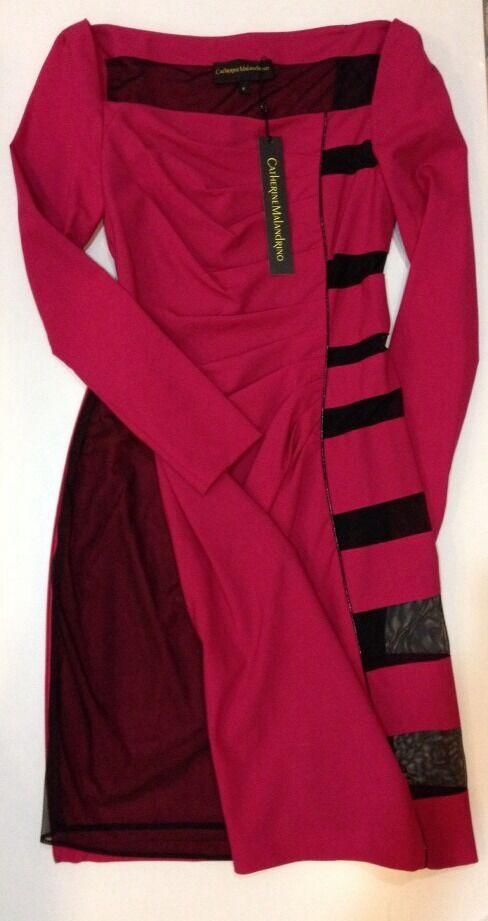 NWT Catherine Malandrino schwarz Label Psycho Wool Sheer Lace  Mesh Dress  2