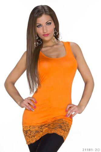 Damen Tank Top mit Spitze Lang Tunika Bluse Shirt breite Träger Bodycon Stretch