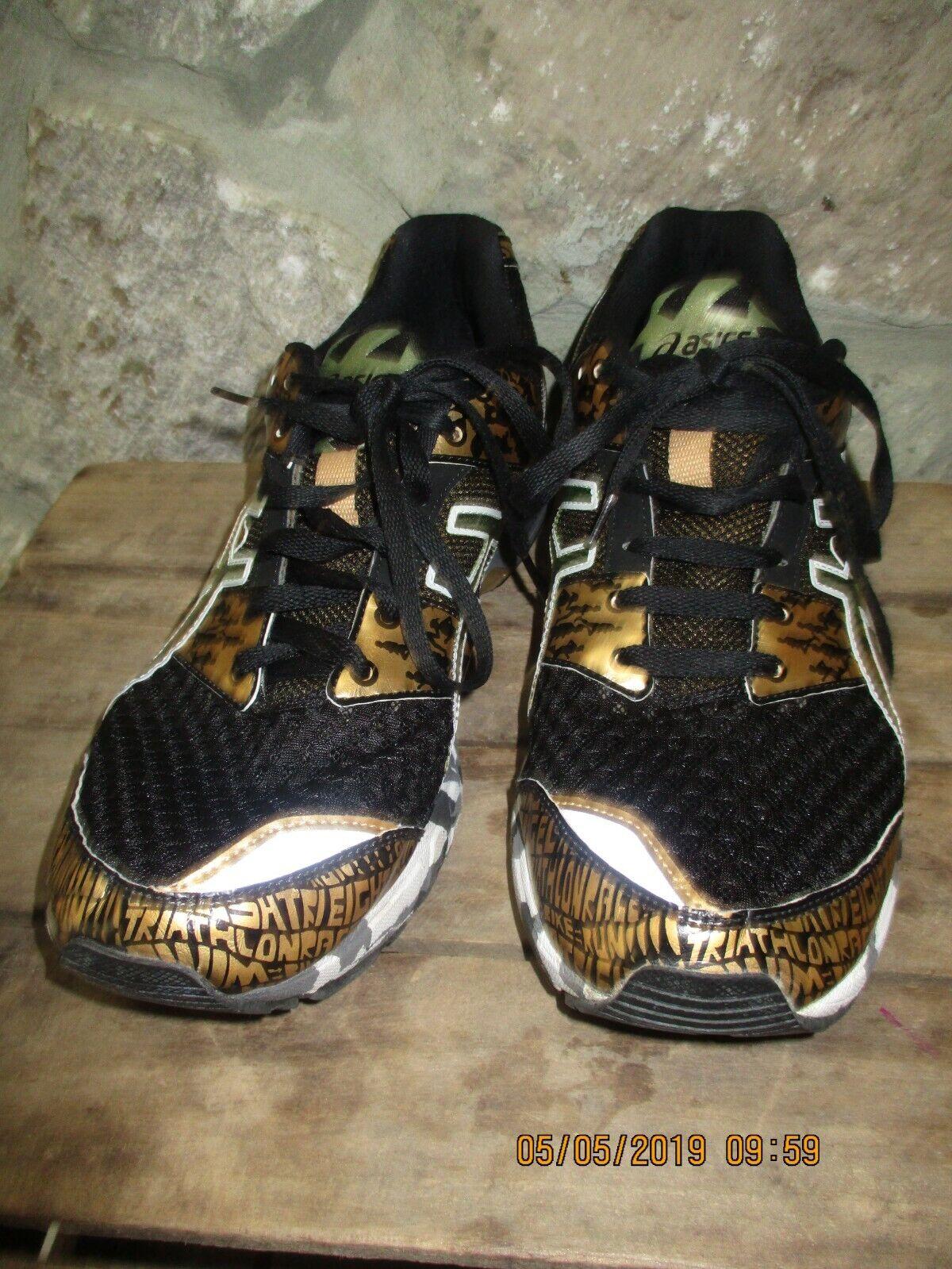 Mens Asics Gel Noosa Tri 8 T3S3N Dorado Negro Zapato de correr TALLA 12 Raro Difícil de encontrar Estilo CE