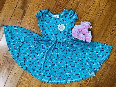 Nwt Dot Dot Smile Cup Short Sleeve Twirly Dress Summer Teal Heart Smile Print 100% Origineel