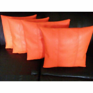 Pillow Cushion Cover Leather Decor Set Genuine Soft Lambskin Orange All sizes 13