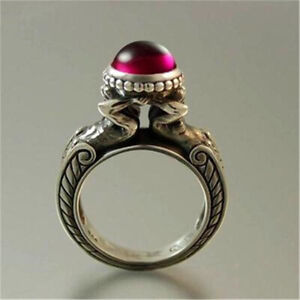 Antique-925-Silver-Round-Cut-Red-Ruby-Germstone-Ring-Women-Jewelry-Gift-Size6-10