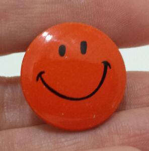 "Vintage Orange Smiley Face Pinback Pin Button Creative House 1"" Smile"