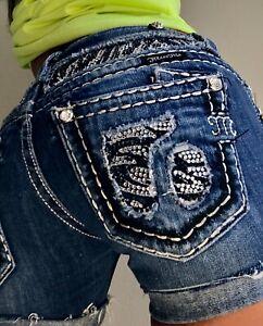 Miss-Me-cut-off-Rhinestone-Flap-Pocket-Low-Denim-blue-Jean-shorts-size-2-26