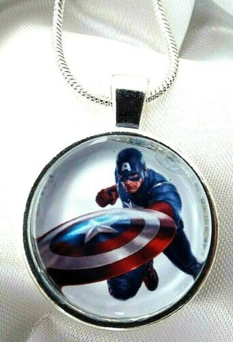 CAPTAIN AMERICA AVENGERS 16 18 20 22 INCH CHAIN NECKLACE GIFT BOX BIRTHDAY PARTY