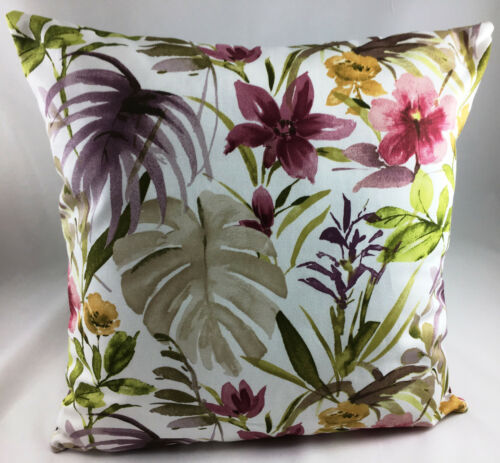 Print of Exotic Multicoloured Flowers and Leaves Evans Lichfield Cushion Cover