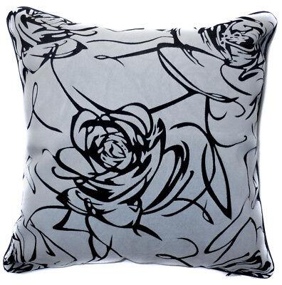 UF37a Beige Rose on Black Velvet Style Cushion Cover//Pillow Case *Custom Size*