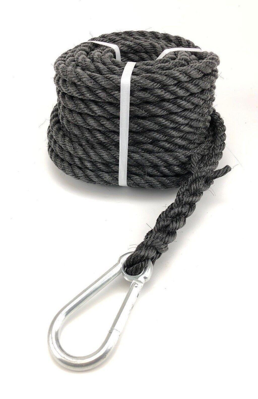 16mm schwarz gesponnene Gin Rad Seil x 50 m, Karabiner-Haken, Fall Bauarbeiter