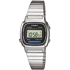 Orologio Digitale Donna Casio La670wa-1df in acciaio Silver Nero Sveglia Lady