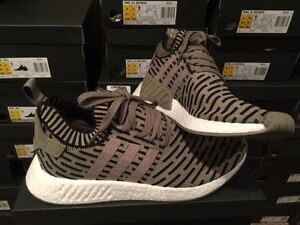 Men's adidas NMD R2 Primeknit Shoes By9410 White/white black US