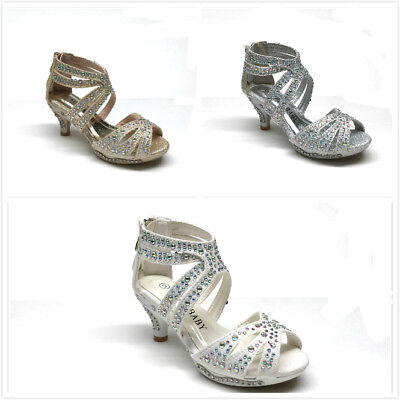 New Girl/'s Fashion Rhinestone Flats Dress Shoes 9-4 White Champagne /& Silver