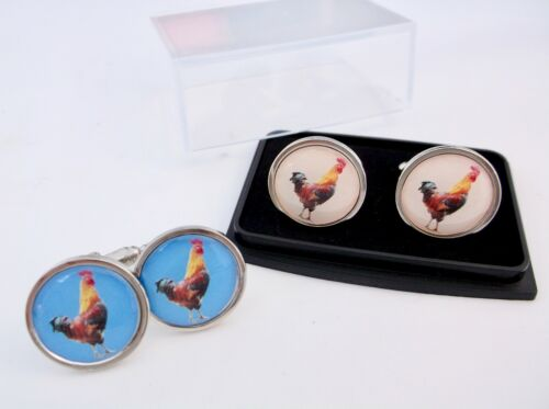 GAMECOCK GAME COCK FOWL BADGE MENS CUFFLINKS CUFF LINKS NOVELTY GIFT