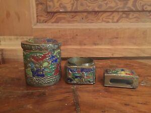 Vintage-Chinese-Enamel-3-Piece-Smoking-Set-Match-Safe-Cigarette-Case-Ashtray