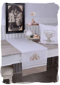 Tischlaeufer-Shabby-Chic-Decke-Tischdecke-Monogramm-Tischband-Tischdeko-Vintage