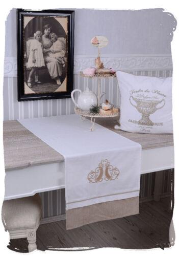Lin Plafond Table Coureur Maison De Campagne Blanc Nappe Antique Carré Style Maison de campagne
