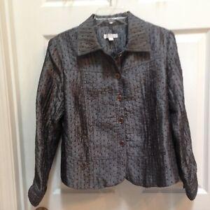 Erin-London-Petite-Jacket-size-Medium-Gunmetal-Grey-Shimmer