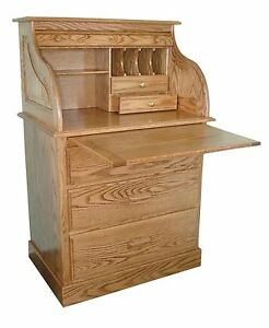 52839569c7da8 Image is loading Amish-Small-Rolltop-Secretary-Writing-Desk-Hutch-Office-