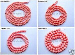 Pink-Natural-Coral-Gemstone-Round-Spacer-Beads-16-039-039-2mm-3mm-4mm-5mm-6mm-7mm-8mm