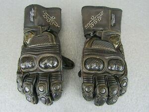 Dannisport-Mens-Motorcycle-Gloves-M-Medium-Brown-Carbon-Fibre-Free-Delivery