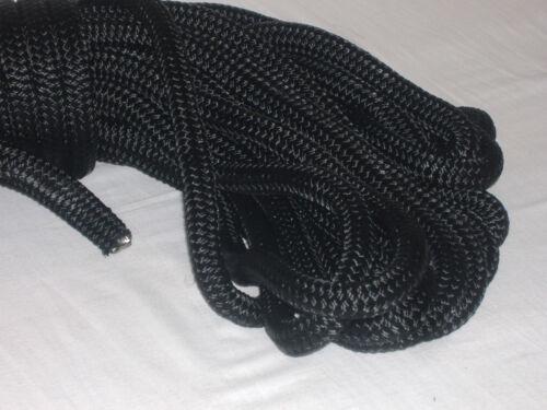 Double Braid Polyester Black 5//16x100 feet saiboat lines halyards flagpole rope