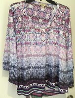 Live And Let Live Plus Size 1x Purple Multi Color Long Sleeve With Sequins