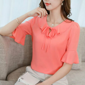 Loose-Chiffon-T-Shirt-Fashion-Summer-Ladies-Women-Shirt-Short-Sleeve-Top-Blouse