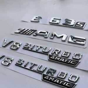 """2x 2018 """" V8 BITURBO """" Trunk Letters Emblems Badge Sticker for Mercedes Benz"""