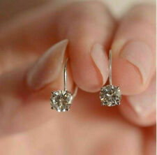 3.42CT Emerald CUT Solitaire Halo DROP DANGLE LEVERBACK EARRINGS 14K WHITE GOLD