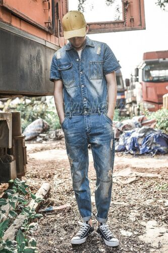 Men Retro Casual Ripped Hole Denim Overalls Jumpsuits Jeans Rompers Cowboy Pants