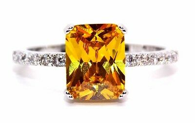 Sterling Silver Citrine And Diamond 2.95ct Ring (925) Size 7 (N)
