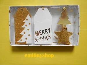 Style De Mode Assortiment Kit Noel étiquettes En Carton Or Blanc Sapin étoile Fête Neuf Fabrication Habile