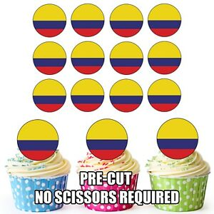 Cup Cake Toppers Decorations Party Birthday 24 Circle Uruguay Flags