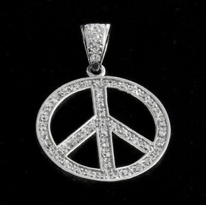 38mm Sterling Silver Cubic Zirconia Peace Pendant