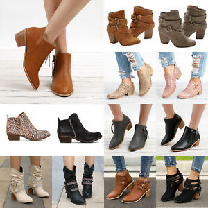 Women-039-s-Leather-Ankle-Boots-Buckle-Zip-Mid-High-Block-Heel-Chunky-Booties-Shoes