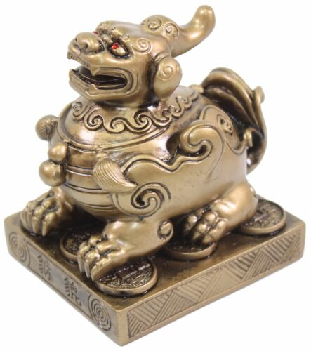 "Feng Shui Brass Color 4/"" Pi Yao Pi Xiu Statue Figurine Paperweight Gift US Based"