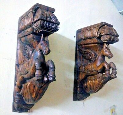 Wall Hanging Wooden Bracket Horse Sculpted Corbel Pair Statue Vintage Home Decor  | eBay