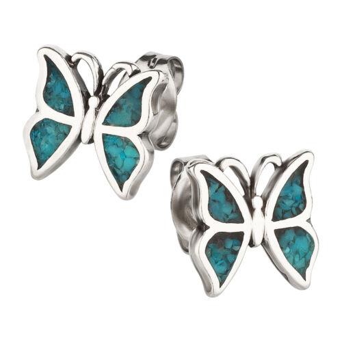 Ohrstecker Schmetterling Türkis Ohrring Sterling Silber für Kinder und Damen