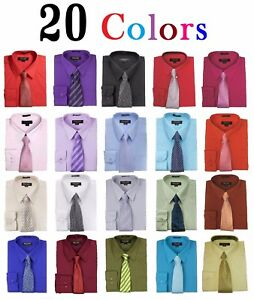 Men-039-s-Dress-Shirts-With-Matching-Tie-Set-Cotton-Blend-Shirt-with-Mystery-Tie-Set