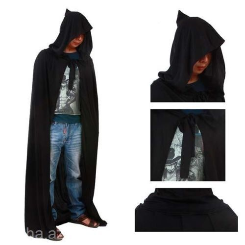 Death Devil Ghost Tippet Cape Hoody Hooded Cloak Halloween Costume Cosplay - JJ