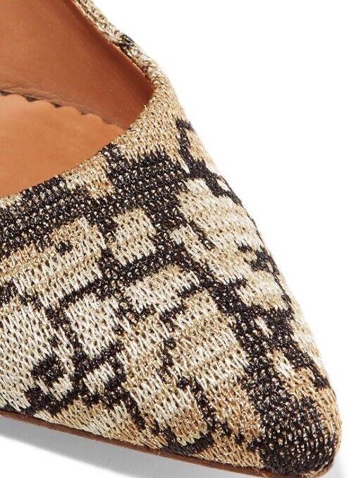 M Missoni Leder Metallic Crochet Knit Braun Gold Heels Pumps Größe 35/5