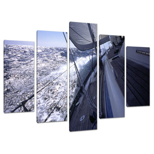 Set of 5 Blue Seascapes Canvas Wall Art Pictures Living Room XXL 5105