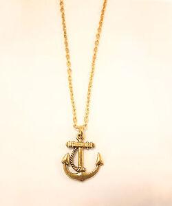 Ahoy Sailor Nautical Anchor NecklaceVintage Gold JewelleryRope
