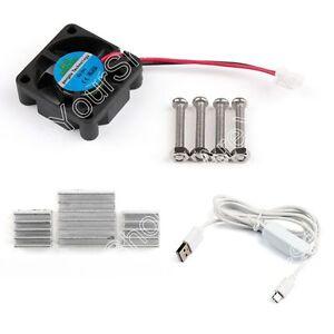 DC-Cooler-Fan-Aluminum-Heatsink-White-USB-Power-Cable-For-Raspberry-Pi-Pi2-3-B